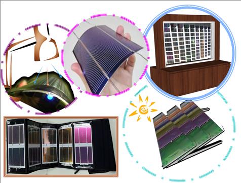 圖二、核能研究所自行研發之彩色型薄膜太陽能電池實品