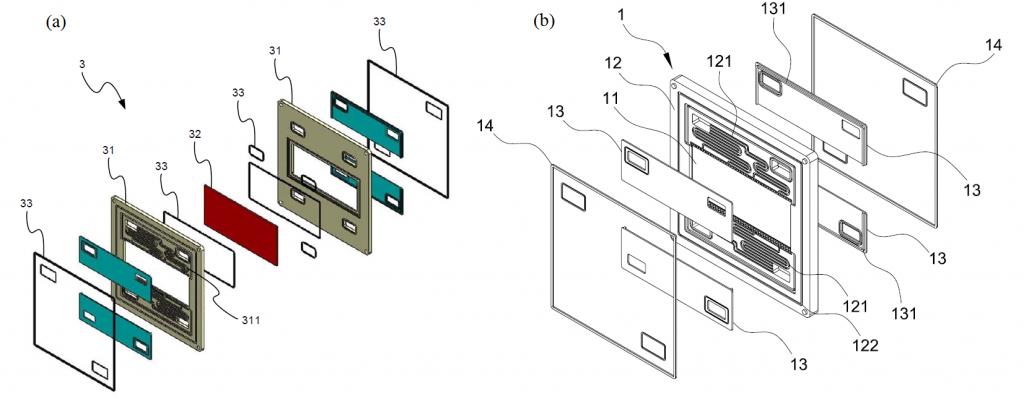 圖3、(a)習用型,(b)一體化之液流電池雙極板結構。